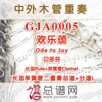 GJA0005.欢乐颂Ode to Joy贝多芬 长笛单簧管二重奏总谱+分谱
